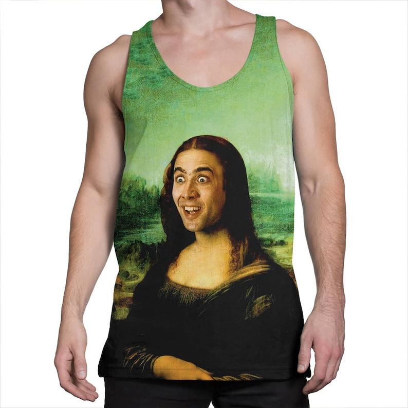 f2031ee118e63 Nicolas Cage Mona Lisa tank top Funny tanktop Meme tank top