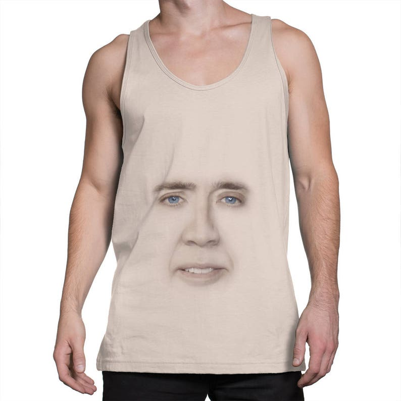 f04756434cd11 Nicolas Cage face tank top Funny tanktop Meme tank top