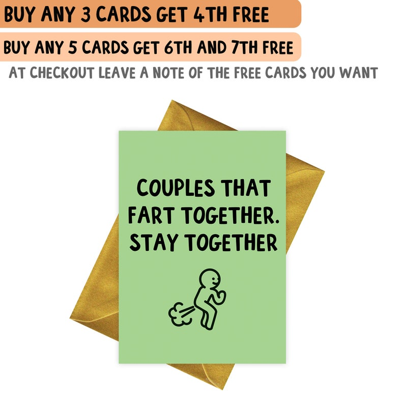 COUPLES THAT FART TOGETHER HAPPY BIRTHDAY CARD FUNNY GREETINGS CARD