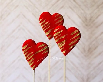 6 X Hand painted Love hearts cupcake / cake topper