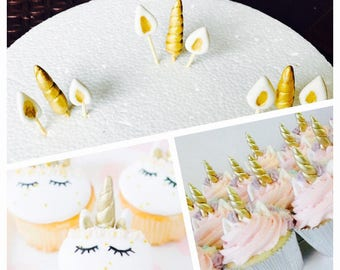 30 Unicorn cupcake horn and ears gold kit