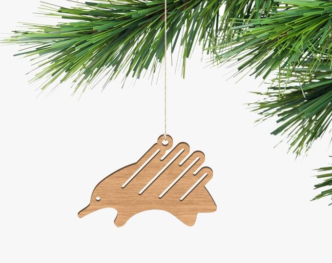 Echidna Christmas Ornament - Tasmanian Oak Wood