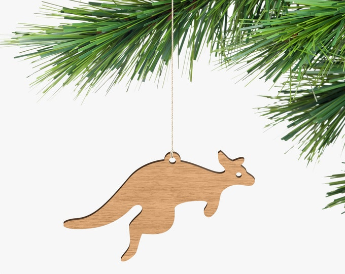 Kangaroo Christmas Ornament - Tasmanian Oak Wood
