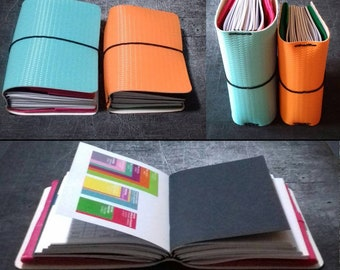Chunky midori travelers notebook Embossed journal with 8 elastic bands to fit at least 10 inserts Custom size + pockets 16 colors & textures