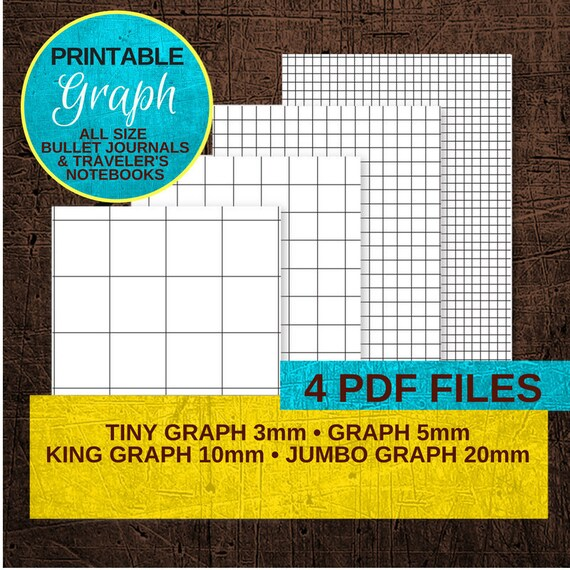 Graph Paper Notebook Printable Traveler S Notebook Insert Etsy
