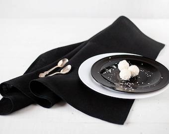 Black linen napkin cloths set of 12, Thanksgiving napkins, Thanksgiving table decor, Wedding black napkin, Organic napkins, Dinner napkins