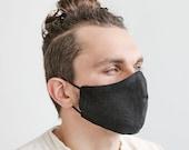 Set of 2 Black Linen Face Masks with express delivery, Reusable Linen Masks Set With A Pocket For A Filter, Washable Unisex Face Masks