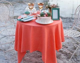Couverture de table nappe en lin corail - nappes de mariage - plage mariage table décor - dessus de table de mariage pêche - saumon nappe - corail
