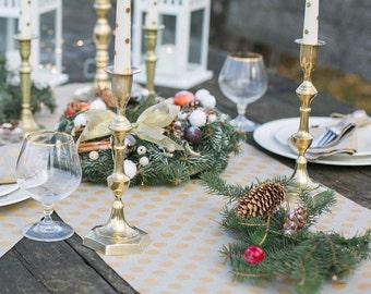 Gold polka dot Table Runner - Table centerpiece - Linen table runner - Gold table top - Mothers day gift - Luxury table runner