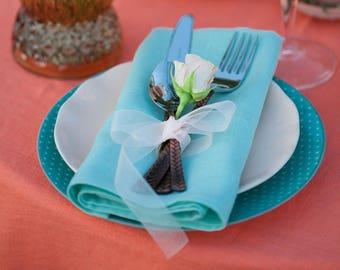 Mint napkin cloths set of 8, Mint wedding napkins, Beach wedding table decor, Linen mint cloth napkins, Bridal shower napkin