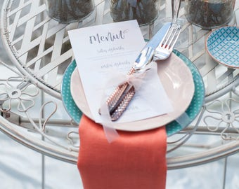 Coral napkins set of 6, Coral napkin cloth, wedding table decor, salmon linen napkins, wedding napkin cloth, Peach wedding table decor