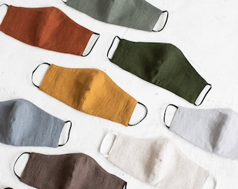 Linen Face Masks with expedite delivery, Reusable Linen Masks Set With A Pocket For A Filter, Washable Unisex Face Masks express shipping