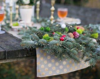 Natural linen runner with gold polka dots, Golden Christmas table decor ideas, Luxury runner, New Year runner, Christmas gift
