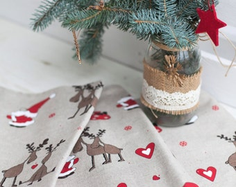 Christmas table runner with deers and Santa Claus - Linen table runner - Holiday runner - Festive table top - Christmas table decoration