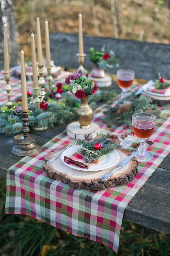 Weihnachten Tisch Topper Plaid Läufer Weihnachten Tisch   Etsy