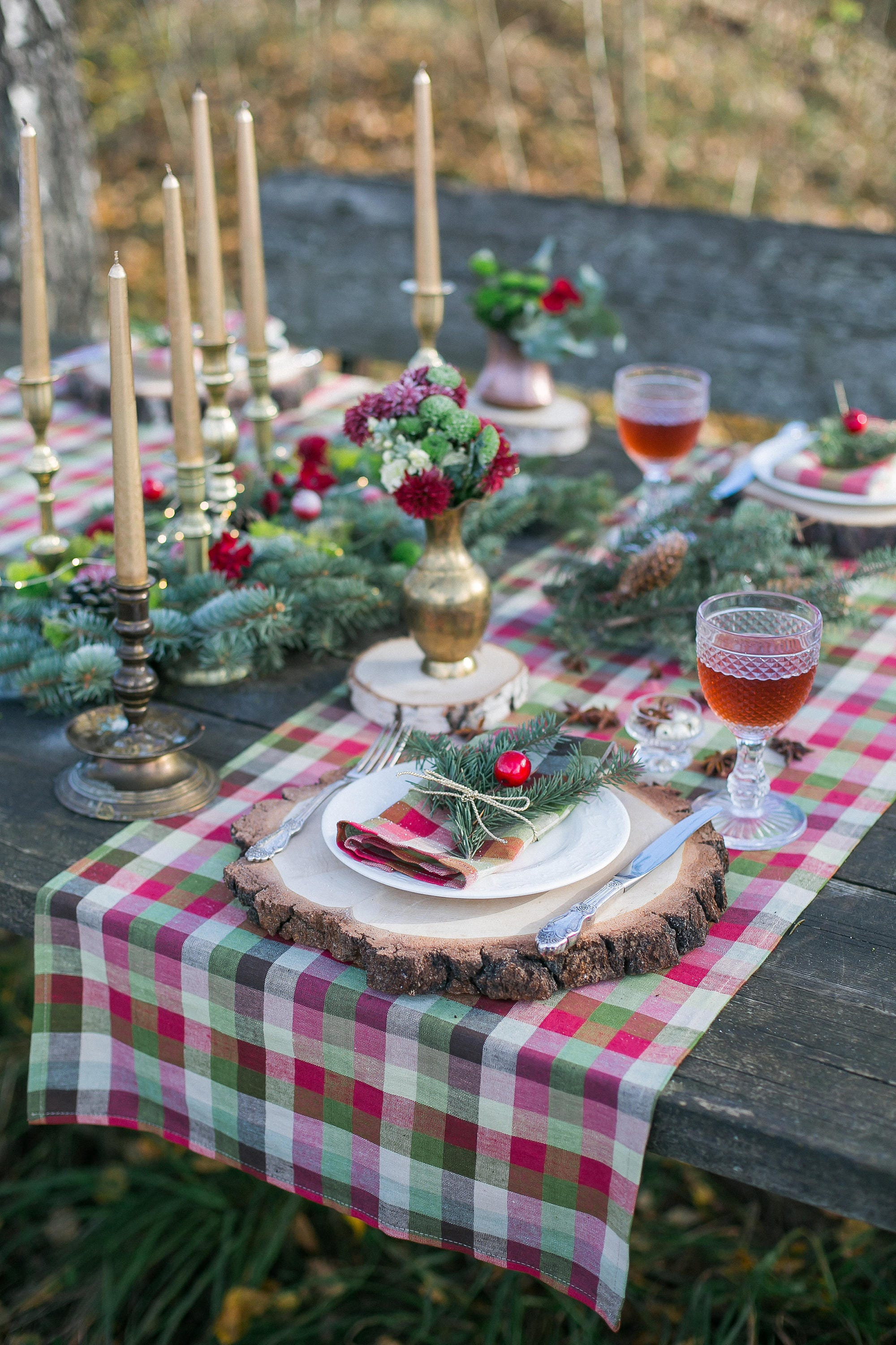 Christmas Table Toppers Plaid Table Runners Christmas Etsy