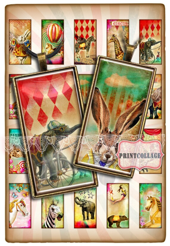 Circus images Domino size Pendant Printable images Digital Collage Sheet 1 x 2 inch Jewelry Backgrounds Clip Art Instant Download c167