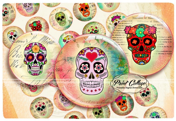 Totenkopf Bilder Buttons Zum Anstecken Druckbare Digitalbilder Etsy