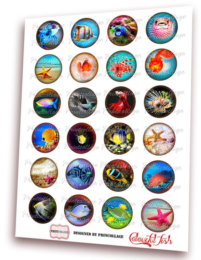 Marine Life Digital Printable Sheet Cabochon images 1.5 inch 1 inch 16,12 mm round images Printable images for pendant Instant download C87
