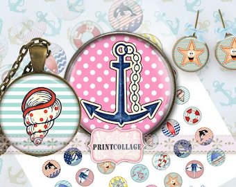 Nautical images Cabochon images Digital Collage Sheet 1.5 inch 20mm 16mm 1 inch round Printable images digital download Bottle Cap image c64