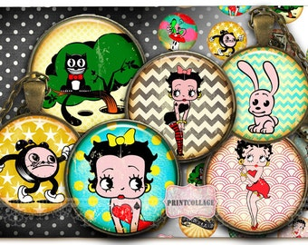 Digital Printable Sheet Cabochon images Betty Boop 1.5 inch 1 inch 18,14 mm round Printable images Instant download Bottle Cap images C184