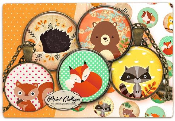 Wald Tiere Digitale Collage Blatt Cabochon Nette Bilder 15 Etsy