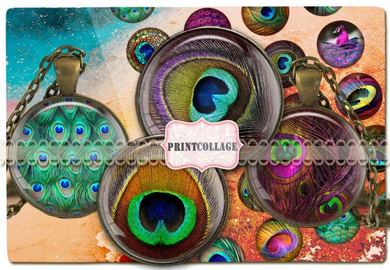 Peacock Feather Digital Collage Sheet Printable images for Bottle Cap 30 mm 20 mm 16 mm 12 mm circle Cabochon images Instant download C90
