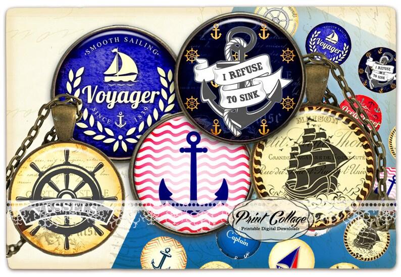 Pendant Collage Images 1.5 inch 16 mm 12 mm 1 inch Bottle Cap printables c241 Nautical Cabochon images Digital Download