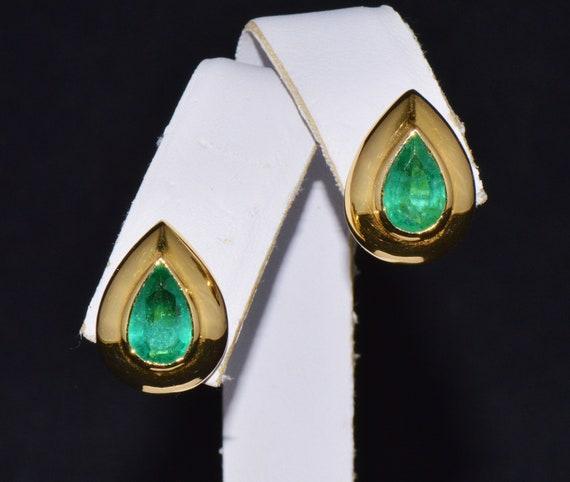 Emerald Earrings - Emerald Bezel Earrings - Certif