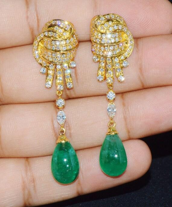 Emerald Diamond Earrings - Emerald Earrings - Diam
