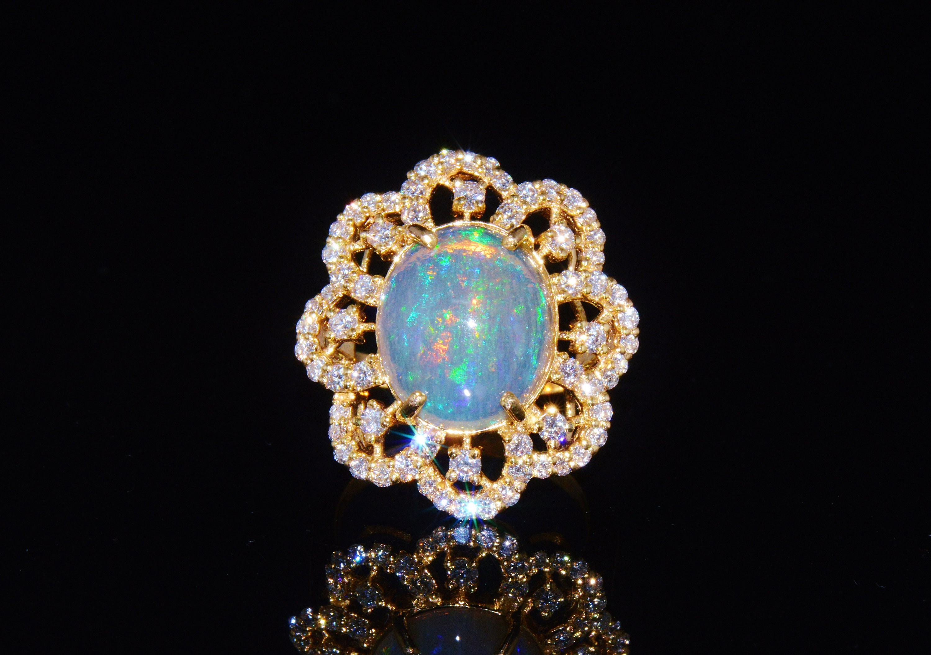 Opal Ring Opal Diamond Ring Estate Natural 6 29Cts VS F