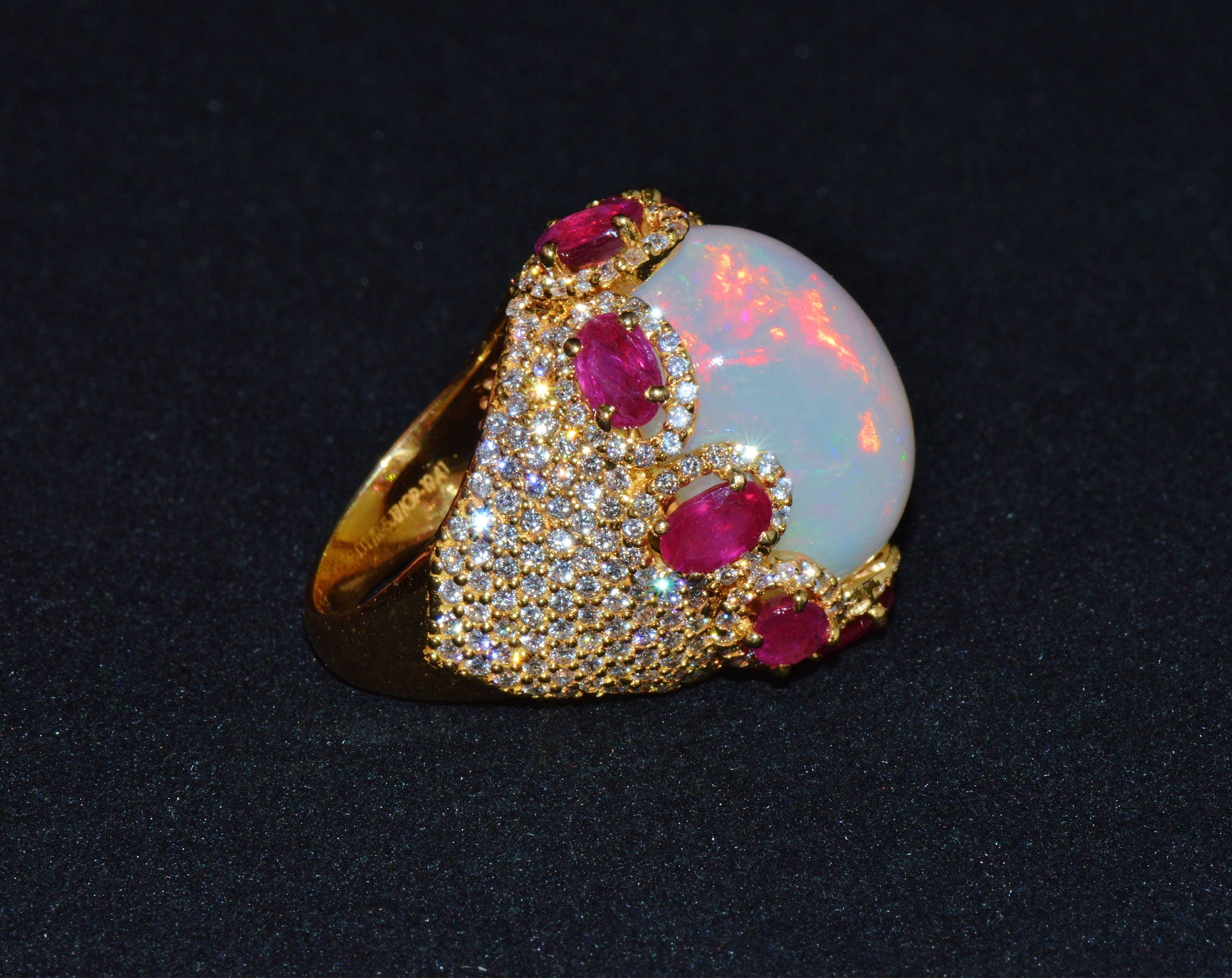 Opal Ring Opal Diamond Ring Ruby Ring Estate Natural