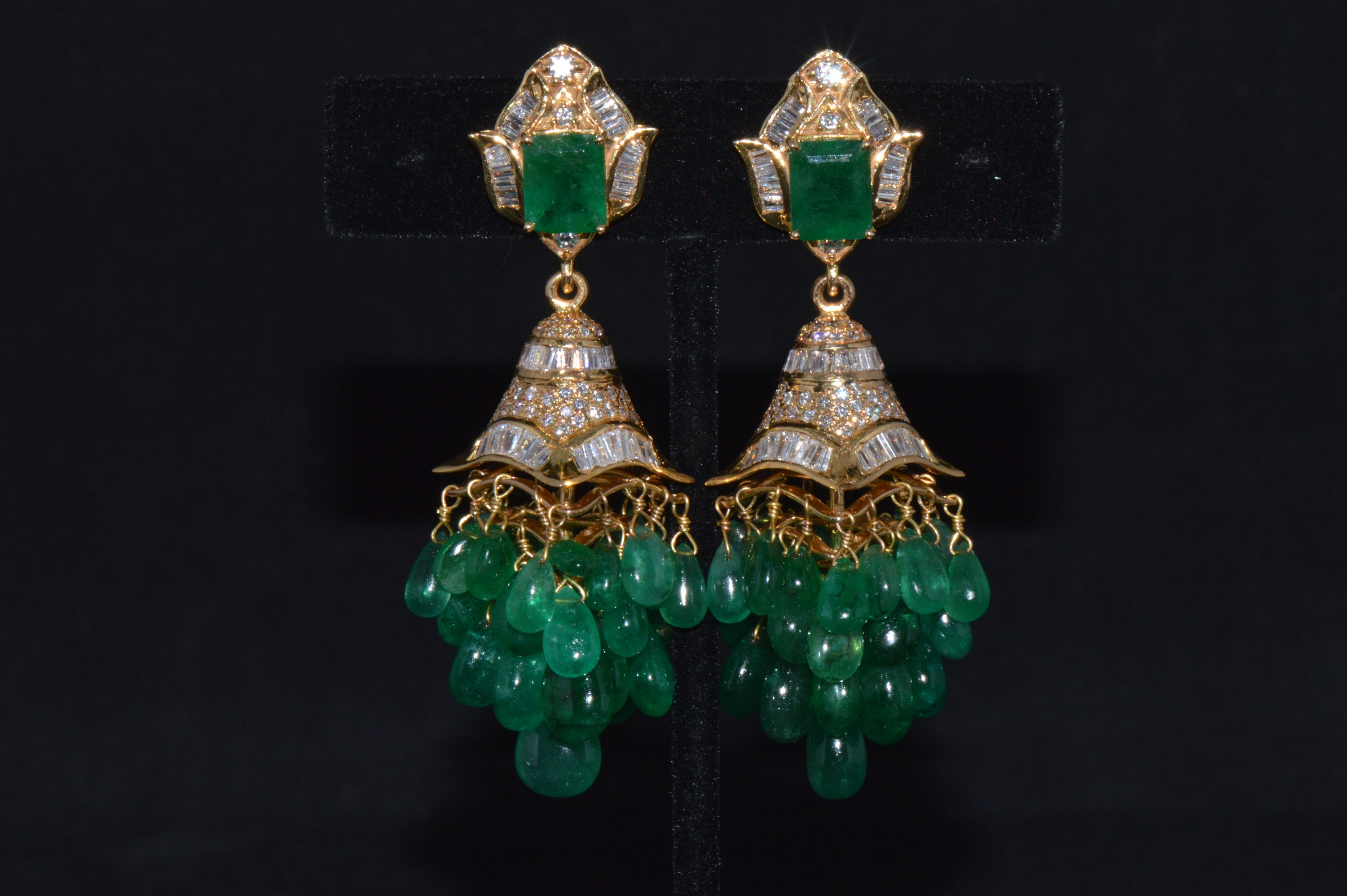 Emerald Earrings Diamond Earrings Fine Natural 101 7Cts VS