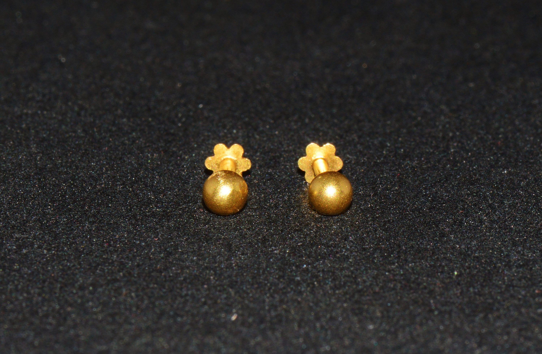 Ball Stud Earrings Sphere Earrings Antique 18K 750 Solid
