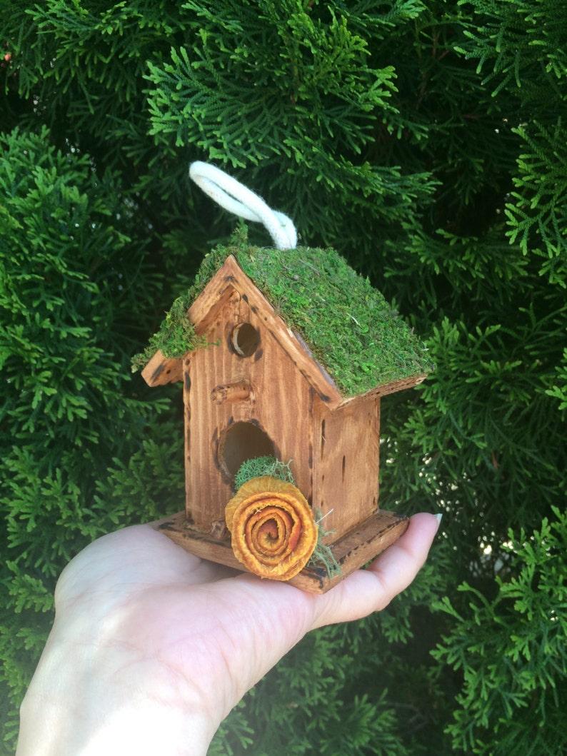 Hanging Woodland Birdhouse-Rustic Birdhouse Decorated Bird house-Bird house Table Decor Wood ornaments Wood Bird House
