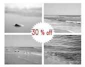 Nautical decor art, grey bathroom prints, beach wall art, ocean photography set, 4 11x14 coastal prints, pale grey sea art, black and white