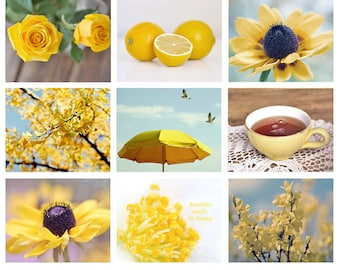 Yellow photography set of 9 prints, yellow wall art set, fine art photographs discount set, yellow wall decor, yellow pictures photo prints