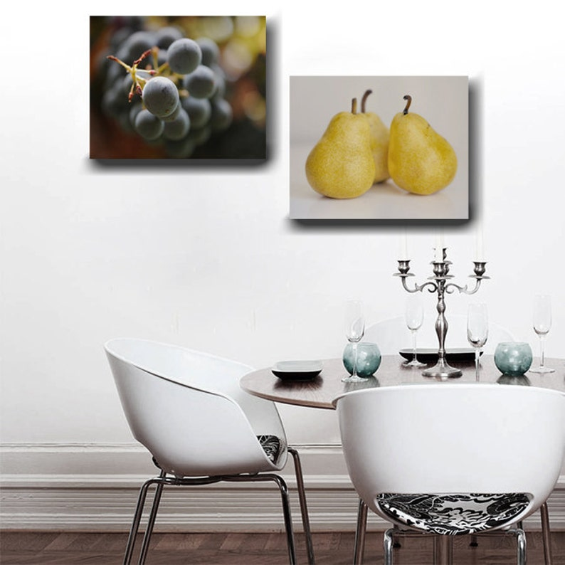 Dining Room Wall Art Canvas Fruit Prints Yellow Black Brown Kitchen Decor Cafe Set Modern Food Gift