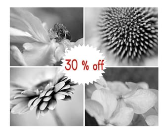 Black and white flower photography set 4 floral pictures, botanical print set 11x14, 8x10 modern art prints, dark grey wall art nature decor
