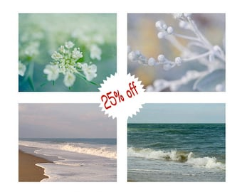 Aqua teal beach bathroom decor wall art, nature art set of 4, ocean photographs floral pictures, bedroom gallery wall art, white turquoise