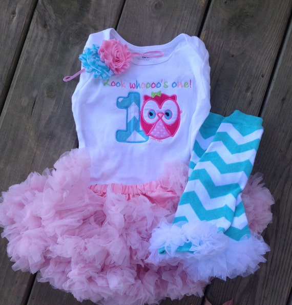 Items Similar To Pink And Aqua Chevron Owl Birthday Outfit