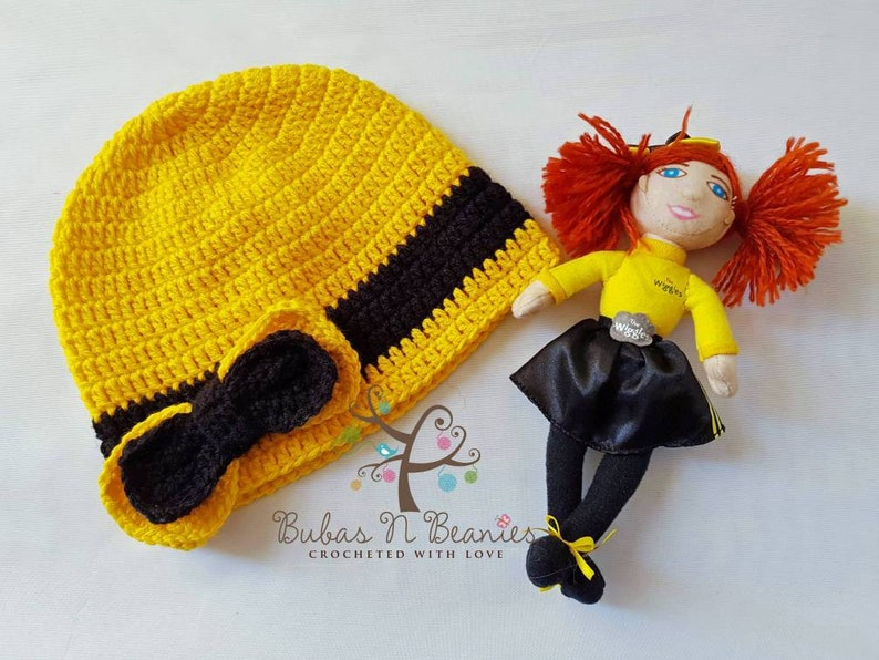 Crochet Emma Wiggle inspired beanie hat The Wiggles handmade Yellow wiggle girls  beanie handmade perfect for winter bowtiful Emma bow yellow 39c6dc414bdd