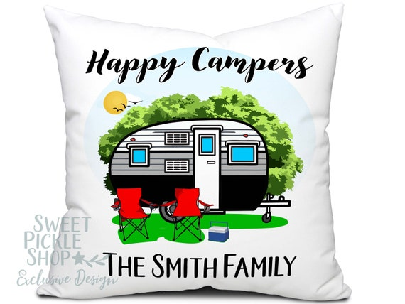 Happy Campers Pillow with Vintage Camp