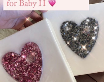 Hartford Charlie Roses' Hand Poured Pearl Resin Canvas Hearts with German Cut Mica Glass Glitter Shards in Pink and Charcoal
