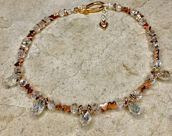 Monroe's Rose Gold Hearts with Diamond Crystals and a decorative clasp