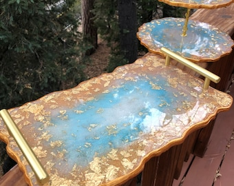 """Stassi's """"Marie Antoinette"""" Gold Leaf Resin Serving, Cocktail, Cake & Cookie 3 Tier Trays and 6 Coasters"""