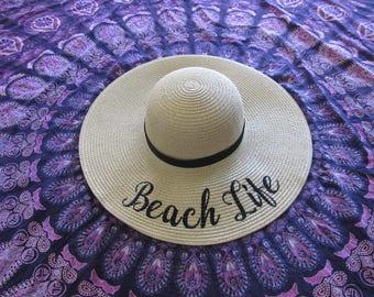 Beach Life  Floppy Hat, Beach Hat, Straw Hat, Ladies Sun Hat, Bachelorette Party, Girls Weekend Away