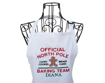 Personalized North Pole Baking Team Embroidered Apron, Christmas Apron for women