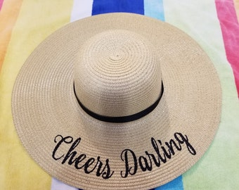 f5f4ddb3 Embroidered Cheers Darling Floppy Beach Hat | Personalized Sun Hat | Wide  Brim Hat | Floppy Sun Hat | Bachelorette Hats