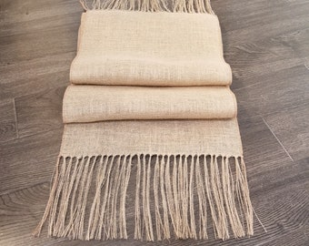 Charmant Beige Burlap Table Runner With Hand Tied Fringe, Farmhouse Chic, French  Country 15 Inch Wide